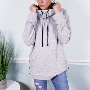 Maurices gray snap sides hooded sweatshirt NWOT